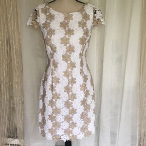 Lilly Pulitzer crochet dress in gold & white